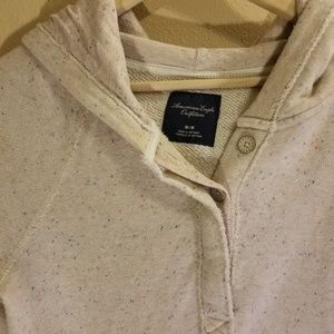 American Eagle Outfitters Tops - AEO Cream speckled hooded sweatshirt